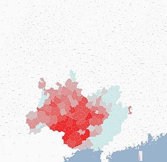 Rau peoples - Distribution of Rau people in China:Zhuang, Buyei, Tày, Nùng, Giáy(Notes:only reflex the distribution trend,the date accuracy need to be proved)