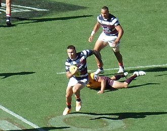 Shaun Kenny-Dowall - Shaun Kenny-Dowall with a run during the Roosters' inaugural Nines campaign