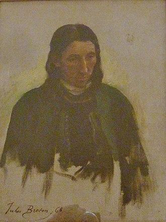 Sacristan - Le bedeau de Kerlaz, patining by Jules Breton (1868)
