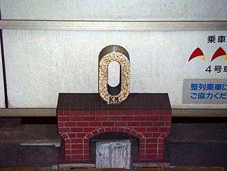 Chūō Main Line - 0 kilometer post at Tokyo Station