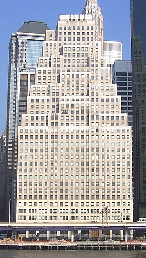 Ely Jacques Kahn - 120 Wall Street designed by Buchman & Kahn as seen from the East River.