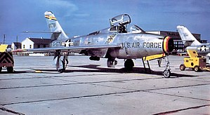 12th Flying Training Wing - 12th Strategic Fighter Wing Republic F-84F-40-RE Thunderstreak 52-6578, Bergstrom AFB, Texas, 1953 in Wing Commander's markings