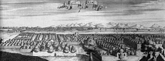 Qom - View Of Qom city in a painting in 1723 AD