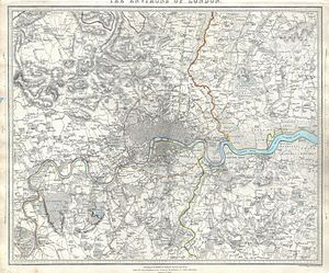 Beckton - Image: 1832 S.D.U.K. Map of London and Environs, England Geographicus London Environs SDUK 1832