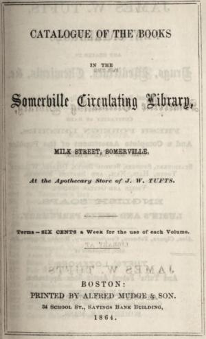 Timeline of Somerville, Massachusetts - Image: 1864 Somerville Circulating Library Massachusetts