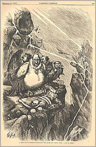 """Caricature - A Group of Vultures Waiting for the Storm to """"Blow Over""""—""""Let Us Prey."""" by Thomas Nast Wood engraving published in Harper's Weekly newspaper, September 23, 1871"""