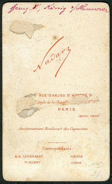 Datei1874 Carte De Visite Georg V Konig Von Hannover Roi Hanover King Of Wappen T Nadar Adressseite Correspondant MM Luckhardt Vienne W