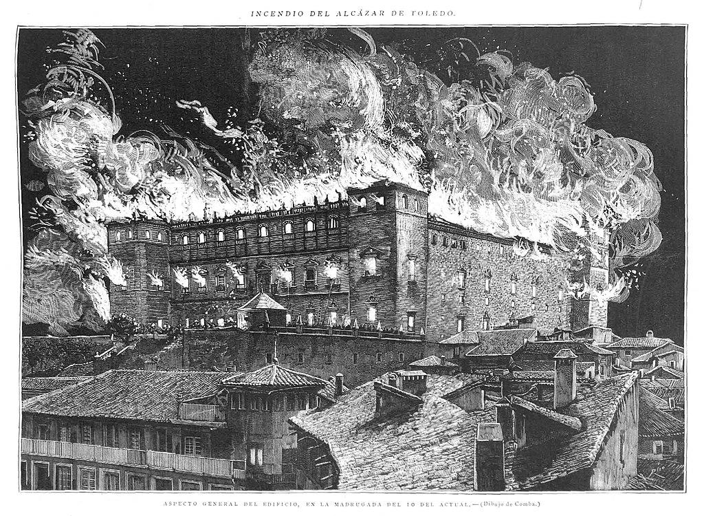 Incendio del alcázar de Toledo. Aspecto general del edificio. Imagen: La Ilustración Española y Americana XXXI, 15/01/1887.