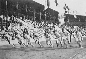 Athletics at the 1912 Summer Olympics – Men's 800 metres - The start of the final.