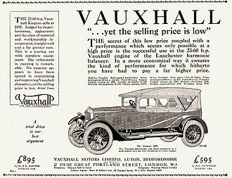 Vauxhall 23-60 - Image: 1923 Vauxhall Kington 23 60 Touring Car ad