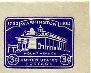 Washington Bicentennial stamps of 1932 - Image: 1932 US Stamped Envelope Mount Vernon
