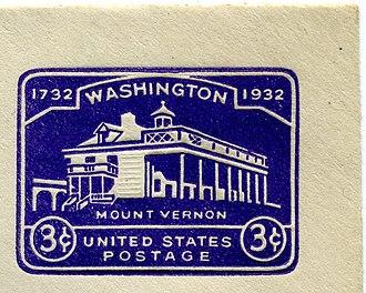 Washington Bicentennial stamps of 1932 - Image: 1932 US Stamped Envelope Mount Vernon