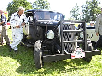 Stock car racing - 1934 Ford stock car racer. Notice the reinforcement in the front.