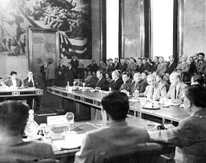 1954 Geneva Conference - Geneva Conference, 21 July 1954. Last plenary session on Indochina in the Palais des Nations. Second left Vyacheslav Molotov, 2 unidentified Russians, Anthony Eden, Sir Harold Caccie and W.D. Allen. In the foreground, the North Vietnamese delegation.