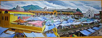 San Francisco El Alto - Painting from Municipal Hall that depicts the market in the central plaza of San Francisco El Alto