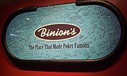 A Binion's poker table signed by WSOP Champions and other professional players after the casino hosted its final WSOP.