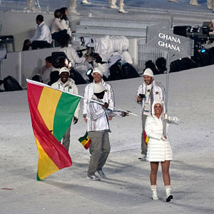 Tropical nations at the Winter Olympics - The team from Ghana during the opening ceremony of the 2010 Winter Olympics.