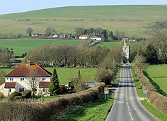 2012 - B3095 near the bottom of Kings Hill into Kingston Deverill (geograph 2868748).jpg