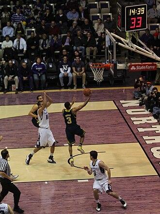 Rebound (basketball) - Image: 20130103 Offensive Rebound Trey Burke miss