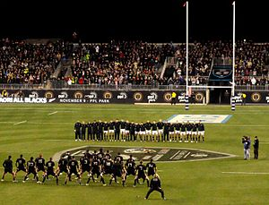 Talen Energy Stadium - Māori All Blacks performing their haka prior to their match against the United States in 2013.