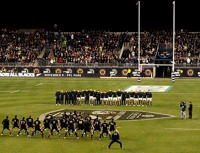 Maori All Blacks performing their haka prior to their match against the United States in 2013. 2013 Maori All Blacks tour of North America at PPL Park.jpg