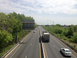 Delaware and Raritan Canal - This section of the Trenton Freeway was built directly over the canal, which still flows underneath