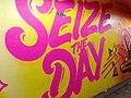 2015 191st Street IRT station tunnel Seize the Day.jpg