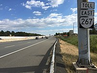 2016-10-23 13 27 48 View east along Virginia State Route 267 (Dulles Toll Road) just west of Exit 10 (Virginia State Route 657, Herndon, Chantilly) in McNair, Fairfax County, Virginia.jpg