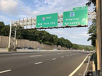 Rockaway, New Jersey - I-80 eastbound at Exit 37 in Rockaway