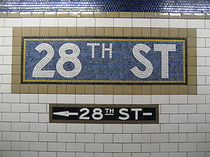 28th Street (IRT Lexington Avenue Line) - Image: 28th Street mosaic sign, IRT Lexington Avenue Line, New York City Subway 20061214