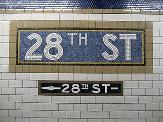 28th Street (IRT Lexington Avenue Line) - Image: 28th Street mosaic sign, IRT Lexington Avenue Line, New York City Subway 20061214
