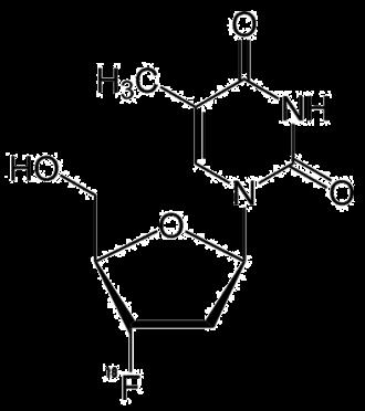 3'-Fluoro-3'-deoxythymidine - Image: 3' fluoro 3' deoxythymidine