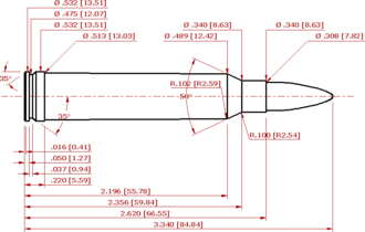 .300 Winchester Magnum - .300 Winchester Magnum schematic diagram conforming to SAAMI dimensions