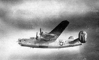 47th Air Division - 450th BG B-24 in natural aluminum finish, probably in 1945
