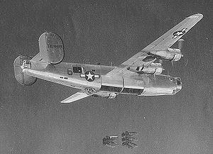 454th Bombardment Group - North American B-24J Liberator 42-78489 over a target. This aircraft was later lost on 20 March 1945