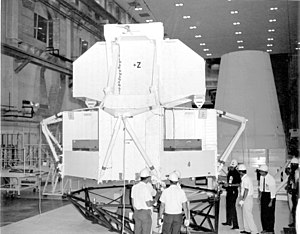 Apollo 6 - The Lunar Module Test Article (LTA-2R) is being moved for mating with the spacecraft Lunar Module Adapter.