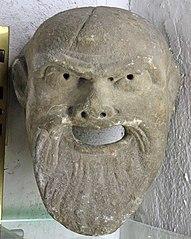 Masque de Silène (décor de fontaine). Marbre époque romaine (Musée de Die)