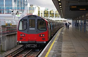 London Underground 1996 Stock - Image: 96073 at Stratford