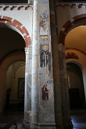 Donor portrait - 13th-century frescoes from Milan: Madonna and Child, Saint Ambrose, and the donor Bonamico Taverna)