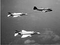 A-6A of VA-65 refuels two VF-151 F-4Bs over Gulf of Tonkin 1966.jpg