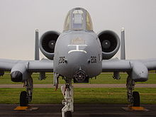 Front View Of An A 10 Showing The 30 Mm Cannon And Offset Landing Gear