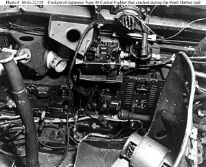 Mitsubishi A6M Zero - The cockpit (starboard console) of an A6M2 which crashed into Building 52 at Fort Kamehameha during the attack on Pearl Harbor, killing the pilot.