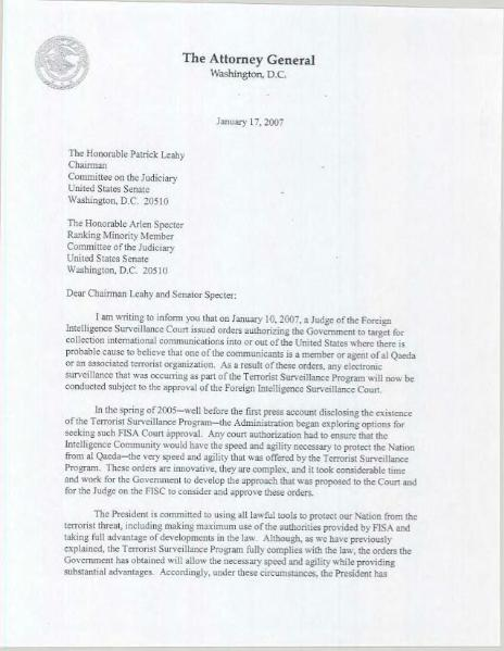 File:AG letter to Senate leaders regarding FISC decision and conclusion of Terrorist Surveillance Program.djvu