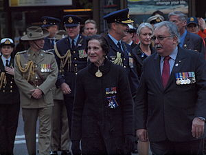 Marie Bashir - Bashir taking part in the 2013 Anzac Day parade in Sydney.