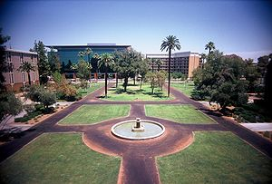 Arizona State University mall, during a very h...