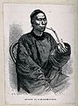 A Chinese man sits smoking an opium pipe. Wood engraving aft Wellcome V0019173.jpg