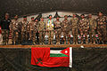 A Polish commander, center, and official party members pose for a photo during a change of command ceremony for the Jordanian Armed Forces, Task Force 222 at Bagram Airfield in Parwan province, Afghanistan 131221-A-RU942-142.jpg