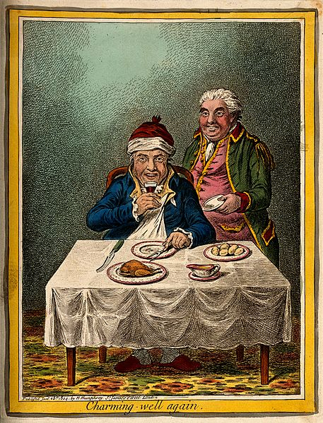 File:A convalescing man happily eating a meal Wellcome V0011198.jpg