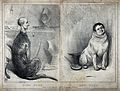 A deerhound and a terrier with human heads in domestic setti Wellcome V0020850.jpg