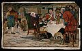 A family sit around a table eating their Christmas meal and Wellcome V0040154.jpg